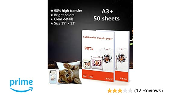 50 Sheets/Pack Heat Transfer Sublimation Paper Sublimation Ink Printing  Paper Iron On Transfer Material For T Shirt Mug Plate Phone Case Etc - A3  Plus