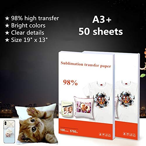 (50 Sheets/Pack Heat Transfer Sublimation Paper Sublimation Ink Printing Paper Iron On Transfer Material For T Shirt Mug Plate Phone Case Etc - A3 Plus Size 19 x 13 Inches)