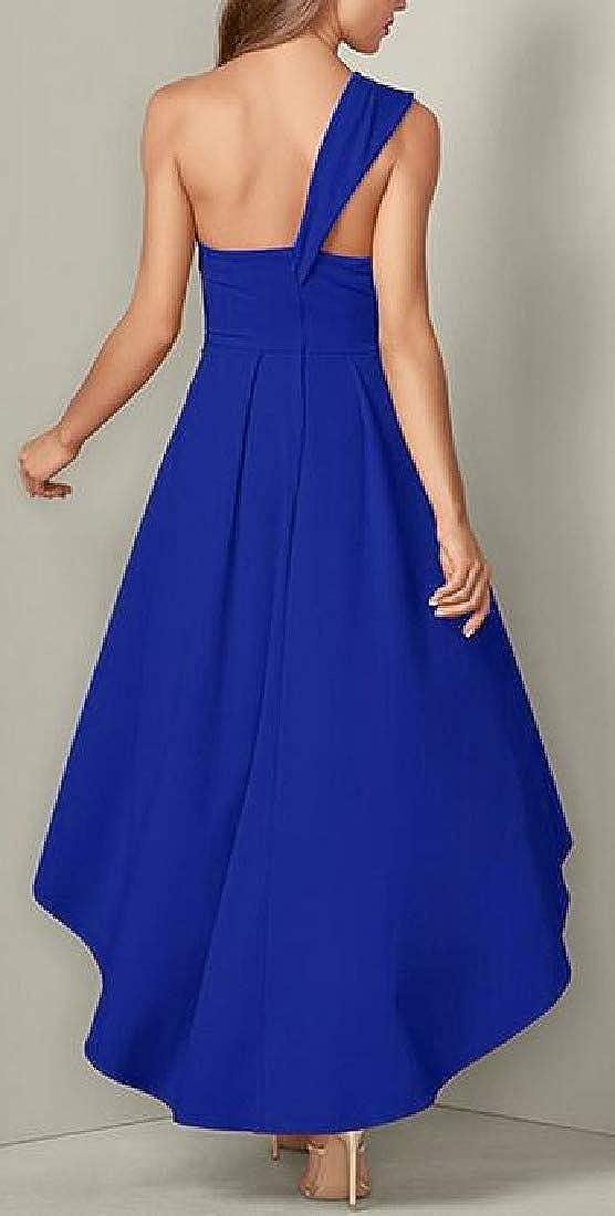 pipigo Womens A-Line Long Dress Solid One-Shoulder Party Jumpsuit Romper