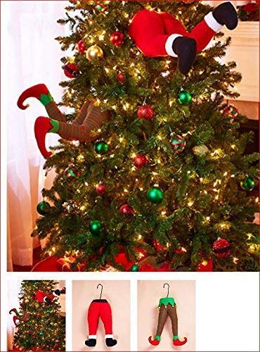 SANTA AND ELF STUCK IN CHRISTMAS TREE STUFFED PANTS DECOR (Christmas Tree Decorations Grinch)