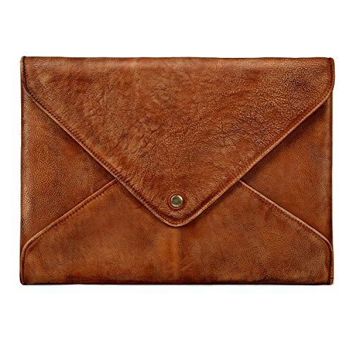 TOPHOME Business Office Bag Laptop Sleeve Tablet Bag Briefcase Bag Genuine Leather Bag for 15.4 inches MacBook & MacBook Pro/iPad pro/Laptop/Notebook(Brown)