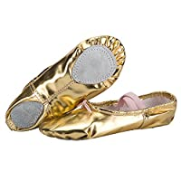 WOBAOS Ballet Slippers Dance Gymnastics Yoga Shoes Flats for Girls(Women/Big Kid/Little Kid/Toddler) (12`(B) M US, Gold)