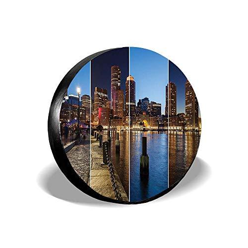 Dinzisalugg Boston Skyline Day and Night Cityscape Reflection of Skyscraper in Water Metropolis Themed Universal Spare Wheel Tire Cover Wheel Cover Jeep Trailer RV SUV Truck Camper (14,15,16,17 Inch)