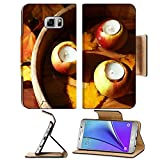 MSD Premium Samsung Galaxy Note 5 Flip Pu Leather Wallet Case Composition with apples and candles in tub on wooden background Note5 Image ID 24179120