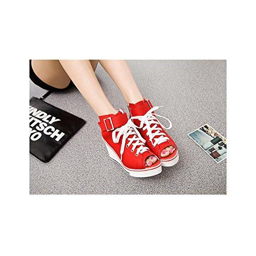 Moda Ochenta De Mujer Para Con Zapatos Casual Rojo 4 Pendiente Tacon Los Lona HwY4Hr