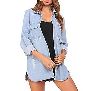BEAUTEINE Women's Denim Jacket Long Sleeve Loose Distressed Lapel Jean Jackets