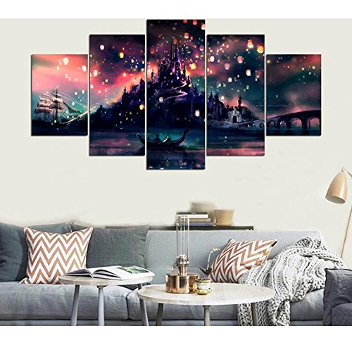 Harry Potter Canvas - GUAITAI 5Pcs Harry Potter Poster Castle Canvas Wall Paintings Artwork Home Decoration (Colorful / With Frame, 11x15inchx2+11x23inchx2+11x31inchx1)