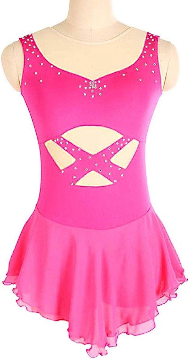 女の子のためのドレスをスケート、女性ピンクのノースリーブスケートドレスラインストーンアップリケのための手作りのフィギュアスケート競技コスチューム ピンク Child14