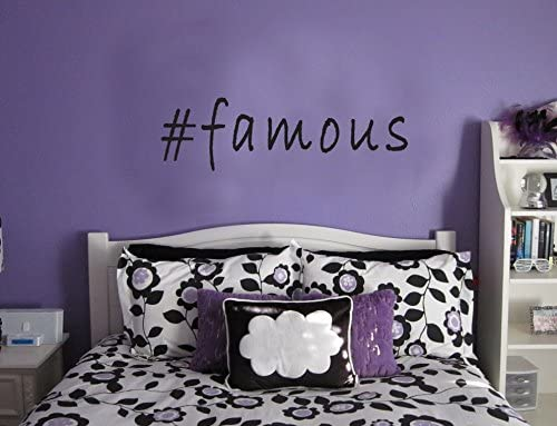 #Famous wall decal, hashtag Famous Wall sticker Vinyl Decal, Wall, Car, Laptop - Turquoise - 50 inch 51vR63XjH1L