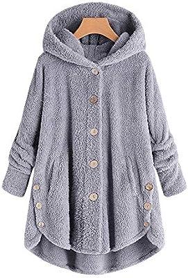 Mujer niñas abrigo Invierno pelo,Sonnena ❄ abrigo para mujer Caliente ropa casual Al aire libre manga larga color liso abrigo largo botones talla grande ...