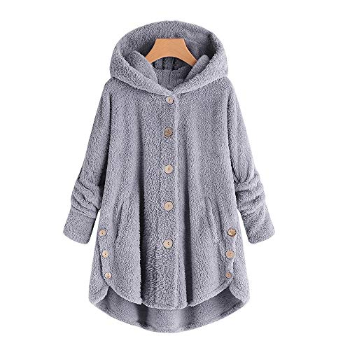 Fashion Women Button Coat Fleece Fluffy Tail Tops Hooded Pullover Loose Sweater Blouse -