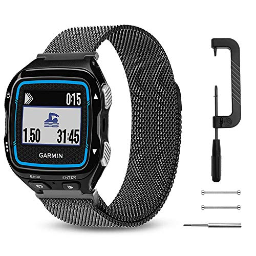 C2D JOY Milanese Loop Works with Garmin Forerunner 920XT Band Replacement Running GPS Unit Watch Band Steel with Magnetic Closures - Black, Large Fits 6.9-9.0in. Wrists