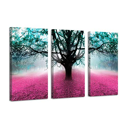 Foggy Forest Landscape Pictures Artwork: Fog Wonderland with Fall Fallen Pink Leaves Covered Ground at Dawn, Graphic Art Print on Canvas
