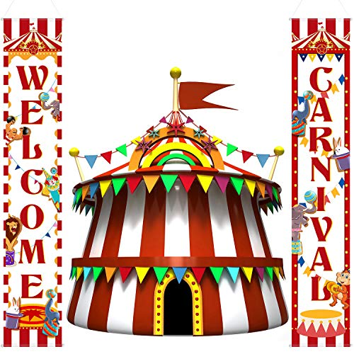 Carnival Decoration Porch Sign Carnival Circus Birthday Party Welcome Banner Decoration Set Circus Carnival Banner Carnival Party Supply Decor Home Decorations -