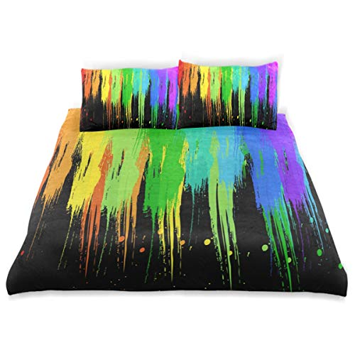 - Rainbow Paint Splatters Bedding 3 Piece Set Full Set 66 × 90 in Bed Quilt Cover, 2 Pillowcase Soft Microfiber Duvet Cover Set for Kids Girls Boys Twin (66