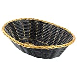 Winco PWBK-9V, 9'' x 7'' x 2-3/4'' Black Oval Poly Woven Basket With Gold Trim, Tabletop Serving Bread Snacks Baskets, 12-Piece Pack