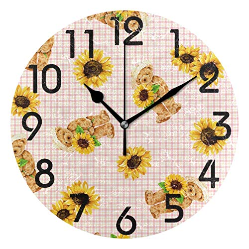 Dozili Chic Cute Cartoon Bears with Sunflower Vintage Pattern Round Wall Clock Arabic Numerals Design Non Ticking Wall Clock Large for Bedrooms,Living Room,Bathroom