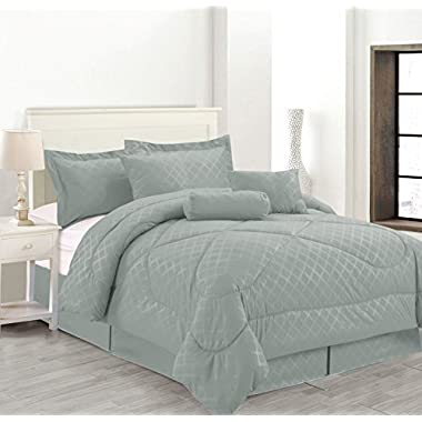 Luxury Hotel 7-Pc Embossed Solid Comforter Set (Queen Size, Gray)