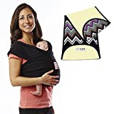 Baby K'tan Original Cotton Baby Carrier in Basic Black + Natural Zig Zag K'tanCloth, Extra Large