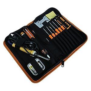 Tekit Primary Electric 30W Engineer DIY Welding Soldering Tool Set for beginner and professionals: Solder Sucker, soldering iron stand, Soldering tin pen, screwdriver, tweezer, cleaning sponge, Solder assist set