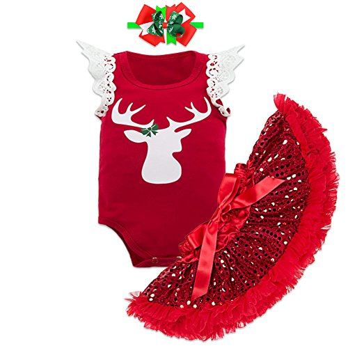 Baby girls Christmas Party Costume Dress Bling Sequins Red Skirt (Red) - 2