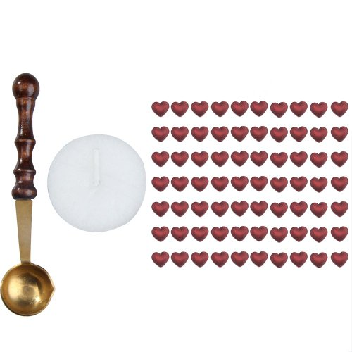 ttnight 1 Set Heart Shape Sealing Wax Beads with Melting Spoon Candle (Wine Red) ()