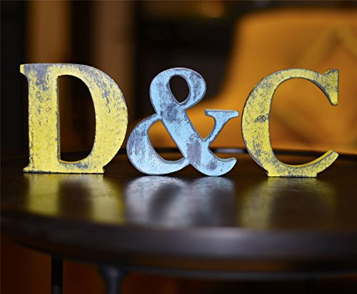 Shabby Chic Vintage Large 11 cm Wooden Letters Hand Finished Alphabets Free-Standing Or Wall Mounted D�cor for Weddings Baby Names Signs Unique Personalised Gift. Teal, Letter S