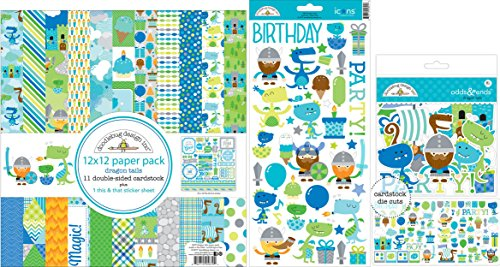 Doodlebug Design Cupcake (Doodlebug Dragon Tails Bundle with 12x12 Inch Paper Pack, 6x13 Inch Cardstock Stickers, and Die-Cuts (Set of 3 Items))