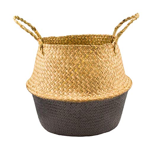 ZYS-hot1124 Seagrass Color Block Weaving Foldable Practical Home Storage Bucket Toy Sundries Clothes Plants Basket Grey M