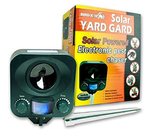 Bird-X Solar Yard Gard Electronic Animal Repeller keeps unwanted pests out of your yard with ultrasonic sound-waves -