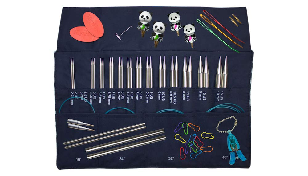 HiyaHiya Sharp Limited Edition Interchangeable Knitting Needle Set with Della Q Case (4'' Tips, Stripe Pattern)