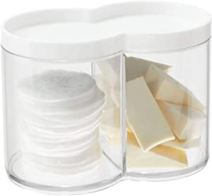 mDesign Plastic Bathroom Vanity Countertop Canister Jar with Storage Lid - Stackable - Divided, Double Compartment Organizer for Cotton Balls, Swabs, Bath Salts - Clear/White