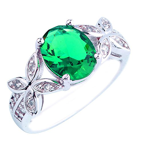 Empsoul Women 925 Sterling Silver Natural Fancy Filled 5-Stone Green Topaz Flower Symbol Engagement Proposal Ring
