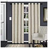 "Superior Waverly Blackout Curtain Set of 2, Thermal Insulated Panel Pair with Grommet Top Header, Beautiful Embossed Wave Room Darkening Drapes, Available in 4 Lengths – Ivory, 52""x108"" each"