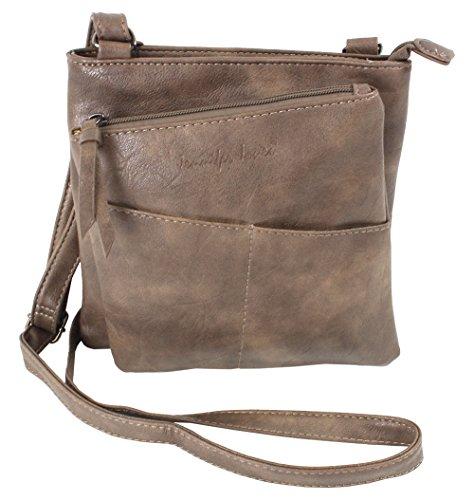 Jennifer Jones - Cross Leatherette Bag Brown Brown Woman