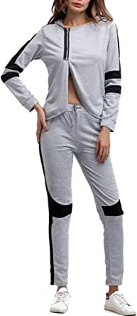 FSSE Women Split Hooded Sweatshirt and Pants 2 Piece Color Blocked Athletic Outfit Set