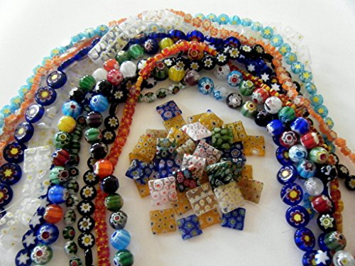 Millefiori Glass Beads MEGA MIX Rainbow Assortment Over 14 FEET 400+ Art Beads! - Millefiori Mosaic Art Glass