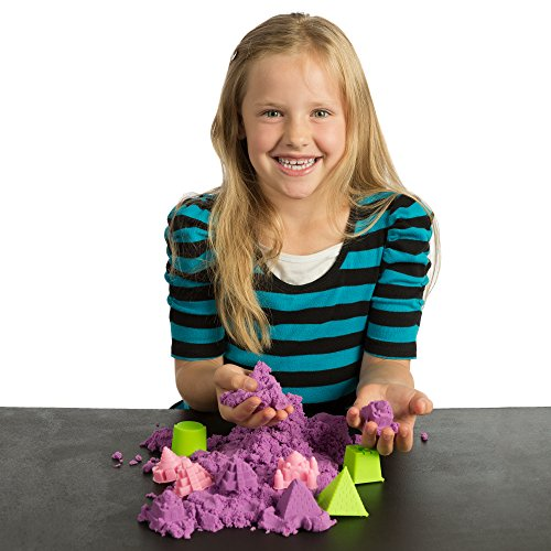 51vR8Q9E2DL - NATIONAL GEOGRAPHIC Play Sand - 2 LBS of Sand with Castle Molds and Tray (Purple) - A Kinetic Sensory Activity