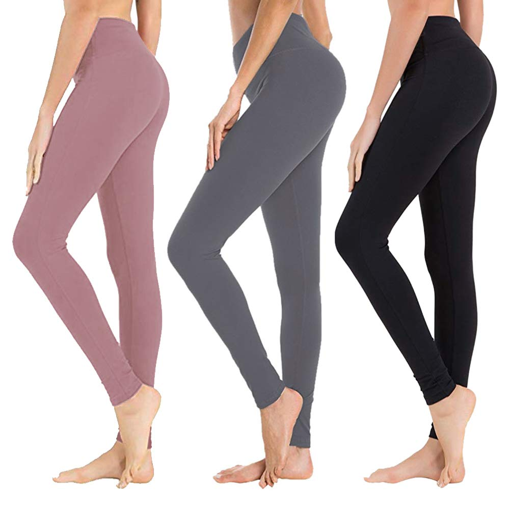 High Waisted Leggings for Women - Soft Athletic Tummy Control Pants for Running Cycling Yoga Workout - Reg & Plus Size (3 Pack Black, Dark Grey, Rosy Brown, One Size (US 2-12)) by SYRINX