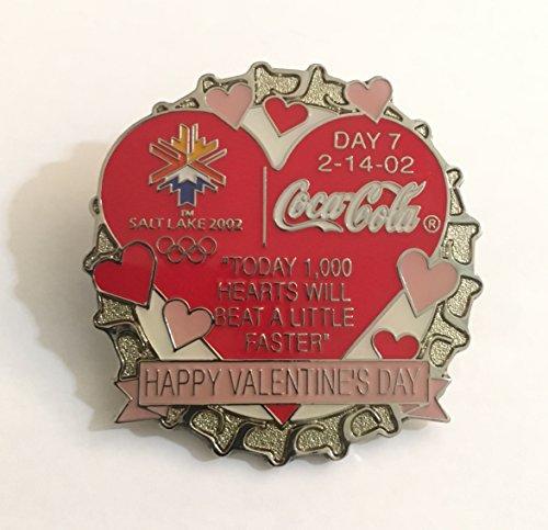 (Rare Coca-Cola Bottle Cap Salt Lake City Winter Olympics Pin Day 7 Valentine's Day LE/1000)