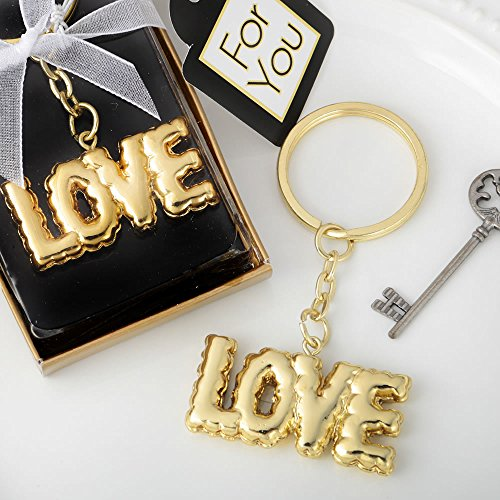 64 Love Themed Key Chains Finished with a Mylar Balloon Design by Fashioncraft