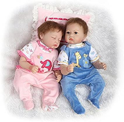 "22/"" TWINS REBORN BABY DOLLS NEWBORN GIRL GIFT VINYL SILICONE HANDMADE DOLL+DRESS"
