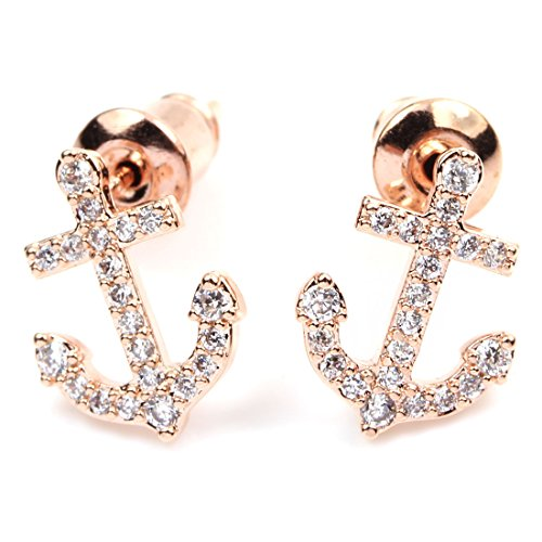 FC JORY White & Rose Gold Plated Crystal Small Diamante Anchor Women Earrings Studs