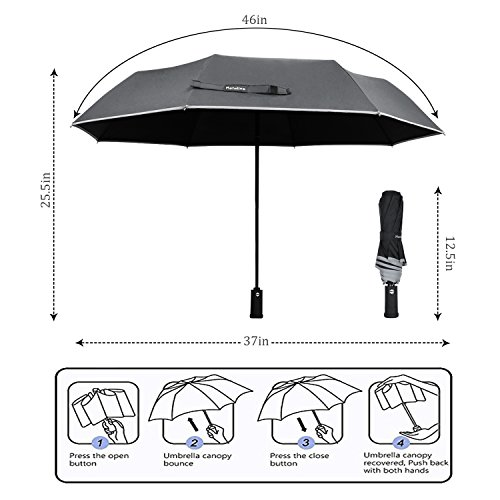 Monstleo-Compact-Travel-Umbrella-Windproof-Travel-Umbrella-with-LED-Light-Auto-OpenClose-Button