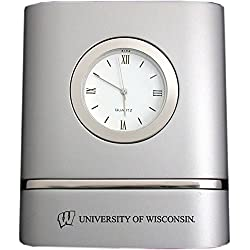 University of Wisconsin–Madison- Two-Toned Desk Clock -Silver