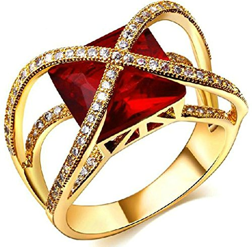 Daesar Gold Plated Rings Womens Promise Rings Ruby Rhinestone Ring Infinity Ring CZ - What Does Shipping Mean Free Day 2