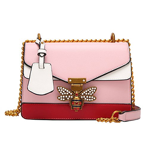 JJLIKER Designer Color Matching Shoulder Bag Fashion Bee Leather Handbag for Women, Fashion Chain Crossbody with Pearl Pink