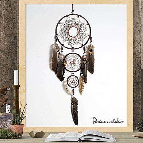 Large Brown Dream Catcher 8x31 Inch Beaded Nature Feathers With 3 Handmade Weave Webs Boho Hippie Native American Wall Hanging For Bedroom Baby Shower Party Home Dorm Aesthetic Living Room Decor by DrCor (Image #2)