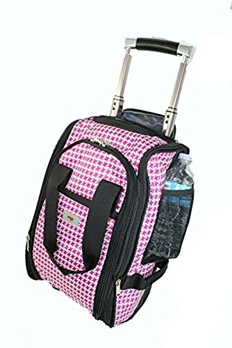 BoardingBlue United Airlines rolling personal item under seat pink