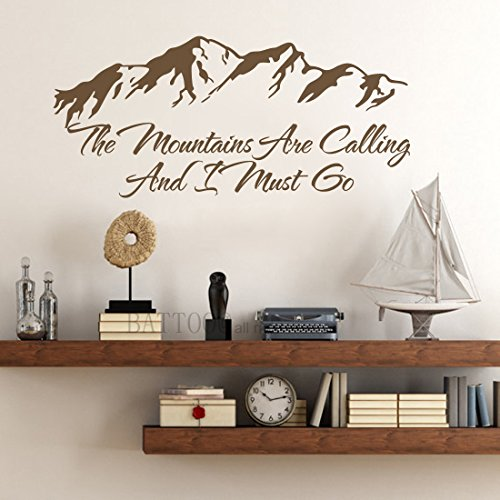 BATTOO Wall Decal Quote The Mountains Are Calling And I Must Go Mountains Decals Travel Quote Vinyl Stickers Rustic Decor Home Decor, 40'' W by 18.5'' H Dark Brown by BATTOO